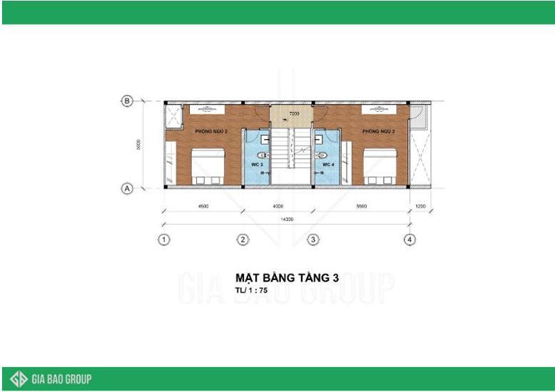 Thiết kế nhà phố 4 tầng - tầng 3