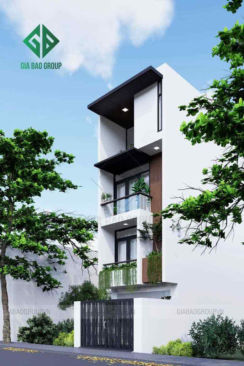 Thiết kế nhà phố 4 tầng đẹp, hiện đại