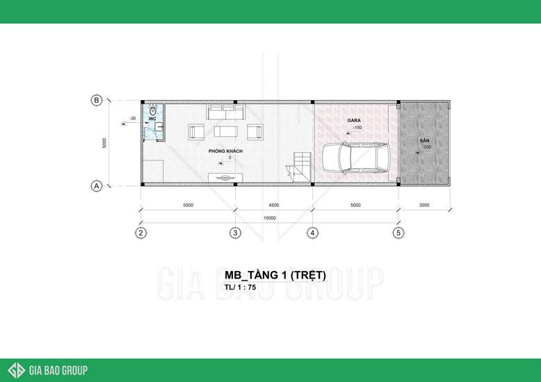 Mặt bằng tầng 1 trong thiết kế nhà phố 4 tầng đẹp được thiết kế thoáng, không gian rộng để tiếp khách