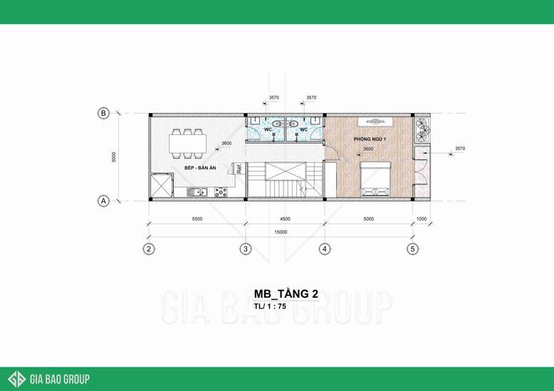 Mặt bằng tầng 2 của nhà phố 4 tầng đẹp được thiết kế tối ưu không gian, hướng đến sự tiện nghi cho chủ sở hữu