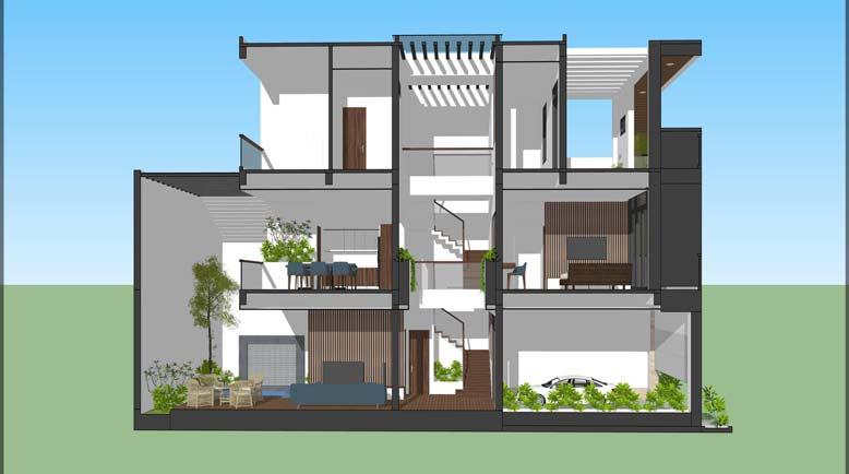 Công trình thiết kế nhà phố 6m x 15m với kết cấu được phân bổ hợp lý, khoa học