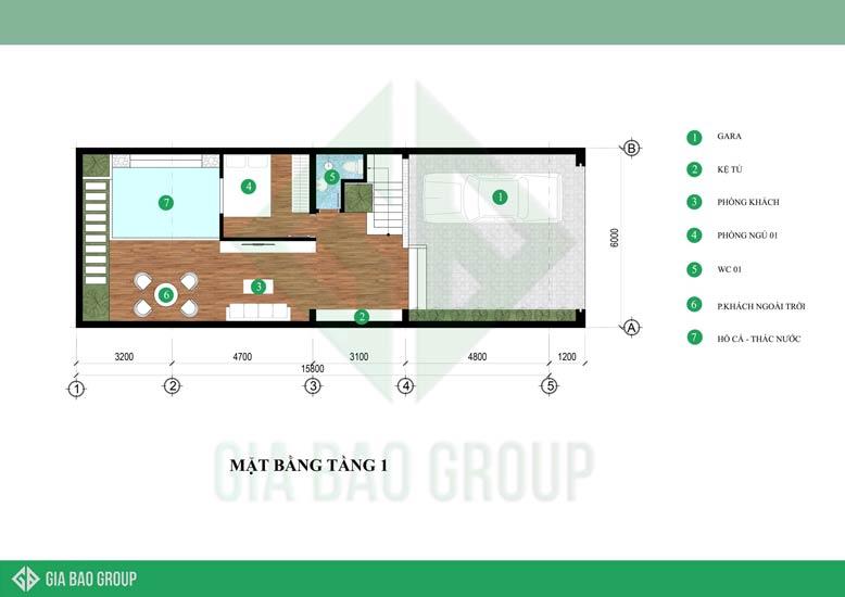 Mặt bằng tầng 1 công trình thiết kế nhà phố 6m x 15m