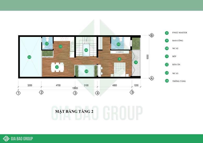 Bản vẽ mặt bằng tầng 2 của thiết kế nhà phố 6m x 15m