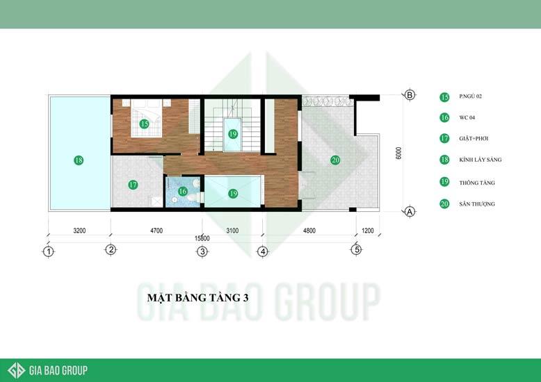 Thiết kế nhà phố 6m x 15m với bản vẽ mặt bằng tầng 3 có sự đông nhất trong tổng thể