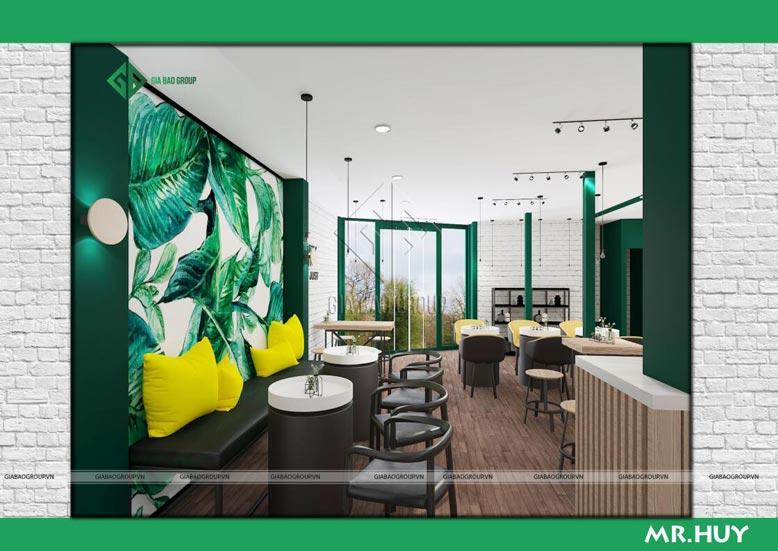 Màu sắc trong thiết kế nội thất chuỗi quán cafe ICED Coffee gần gũi thiên nhiên, tươi mát và tiết kiệm không gian