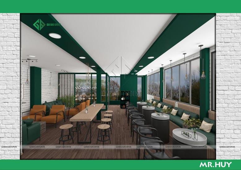 Thiết kế nội thất chuỗi quán cafe ICED Coffee có không gian mở