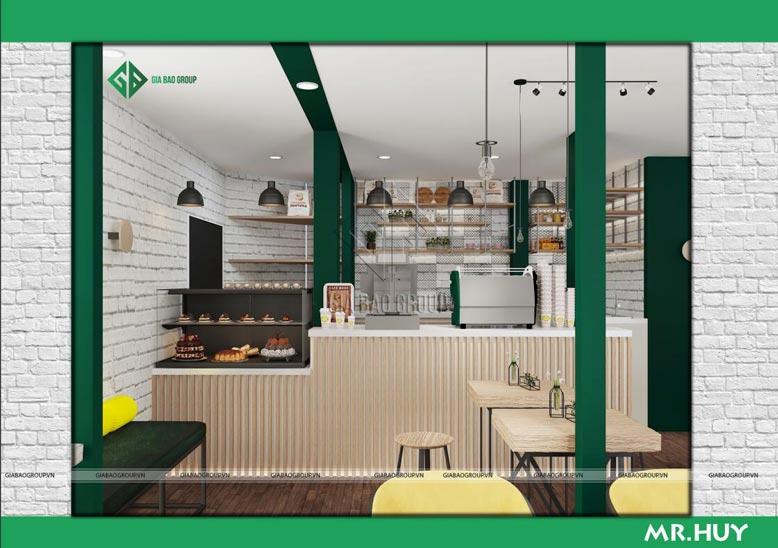 Thiết kế nội thất chuỗi quán cafe ICED Coffee với quầy bar có vật liệu bền bỉ, ấn tượng