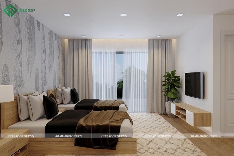 Thiết kế phòng ngủ nhà 2 tầng kết hợp rèm