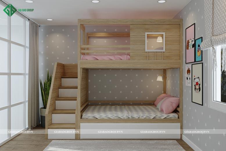 Tận dụng tối ưu không gian phòng bé nhà 2 tầng hiện đại