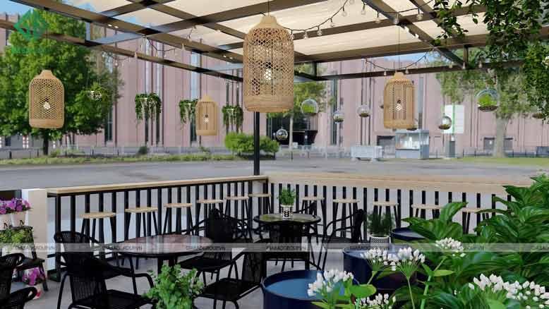 Kết hợp tiểu cảnh tăng thêm sự tươi mới cho thiết kế quán cafe đẹp