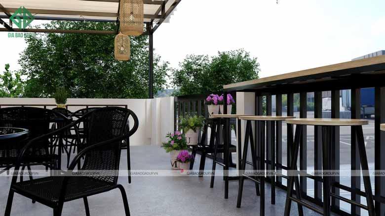 Thiết kế quán cafe đẹp với vật liệu ấn tượng