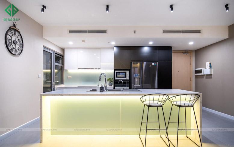 Thiết kế thi công nội thất căn hộ hộ cao cấp với phòng bếp ấm cúng, tinh tế và hiện đại