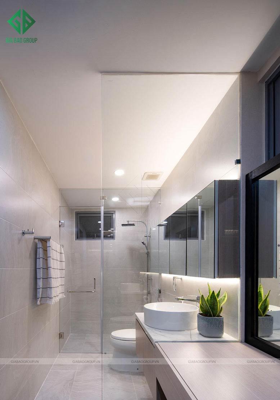 Khu vực nhà vệ sinh được thiết kế sang trọng, hiện đại trong thiết kế thi công nội thất căn hộ cao cấp