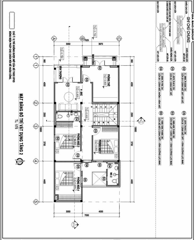 Bản vẽ thiết kế thi công biệt thự phố 2 tầng rộng rãi và thoáng mát