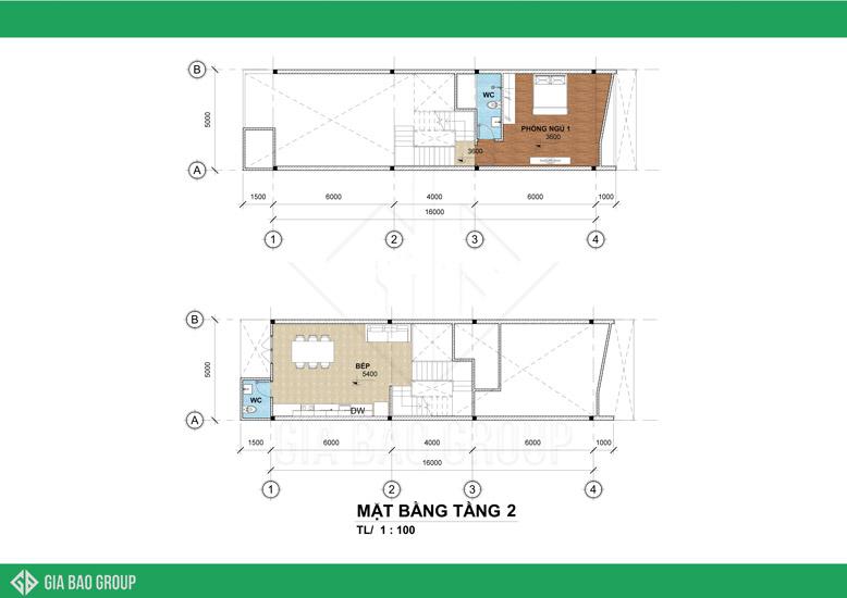 Mẫu thiết kế nhà phố tầng 2