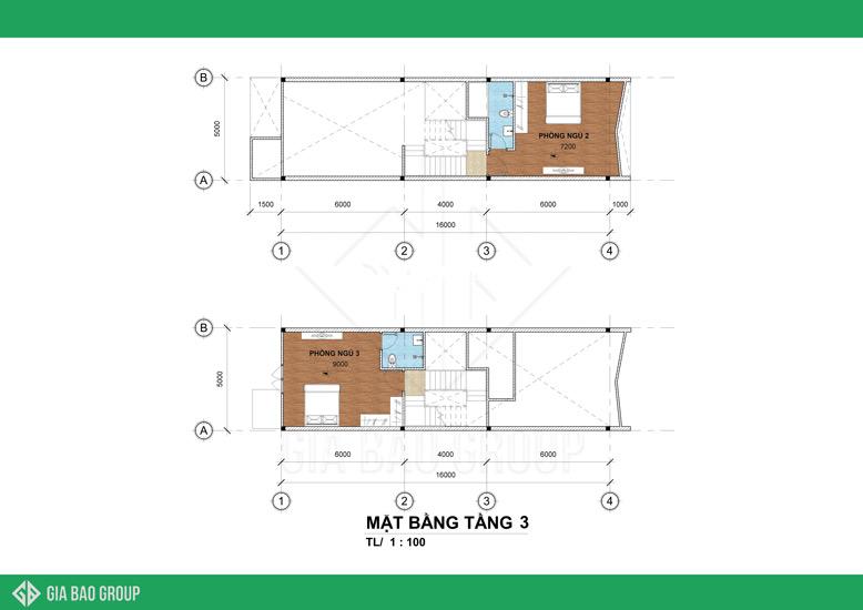 Mẫu thiết kế nhà phố tầng 3 với 2 phòng ngủ