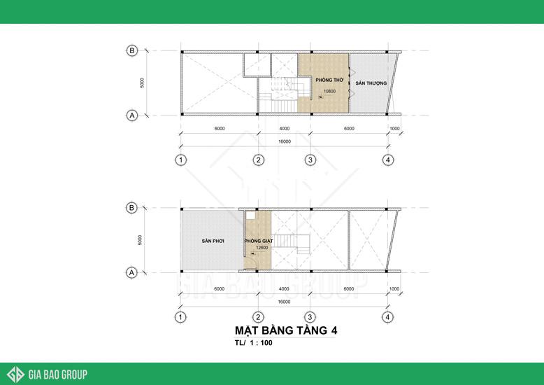 Tầng 4 mẫu nhà phố hiện đại 1 trệt 3 lầu
