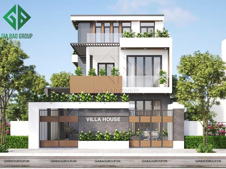 Mặt tiền công trình thiết kế nhà biệt thự phố bề thế và phóng khoáng