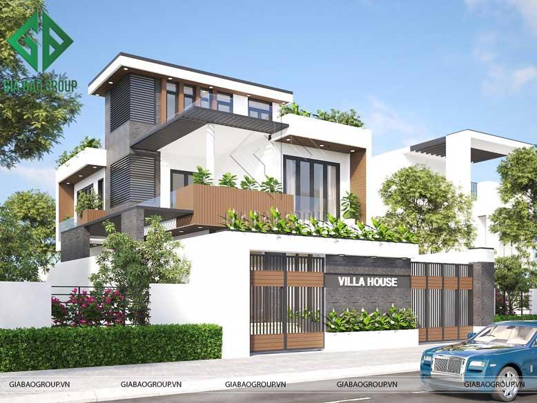 Phối cảnh của thiết kế nhà biệt thự phố