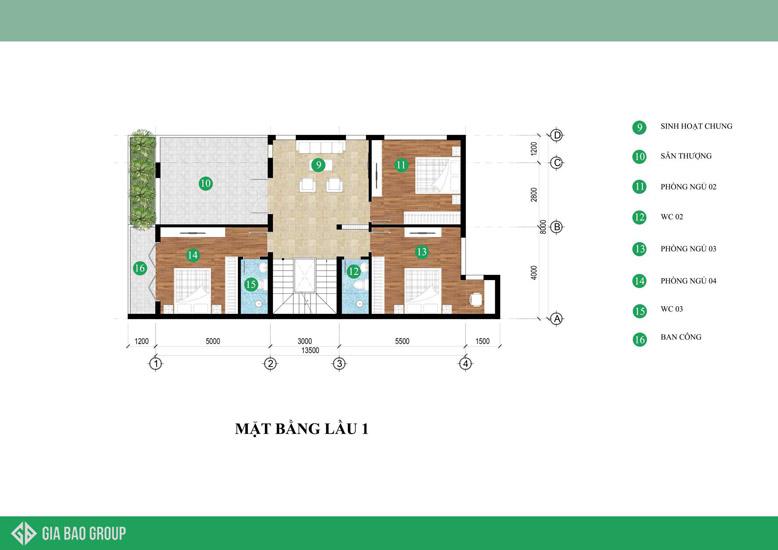 Mặt bằng tầng 1 của thiết kế nhà biệt thự phố sang trọng
