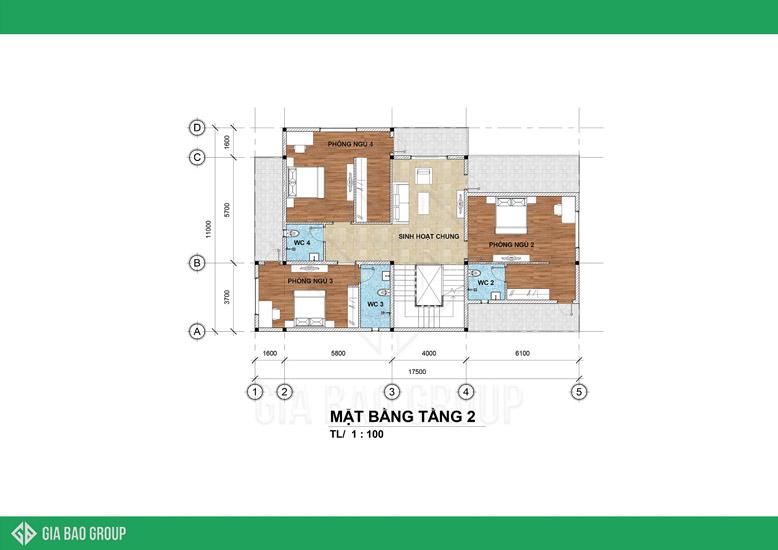 Bản vẽ mặt bằng tầng 2 trong công trình thiết kế thi công biệt thự 3 tầng