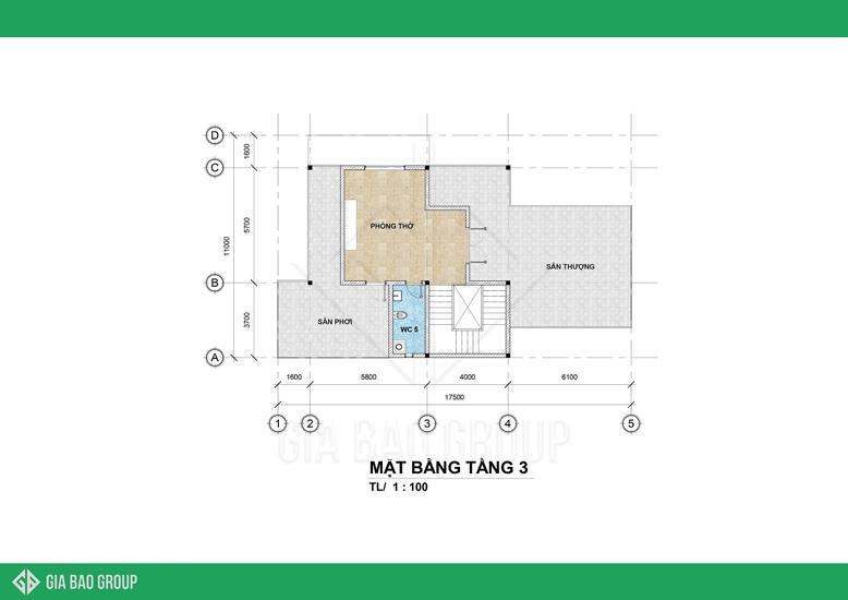 Thiết kế tầng 3 của biệt thự với không gian thoáng đãng