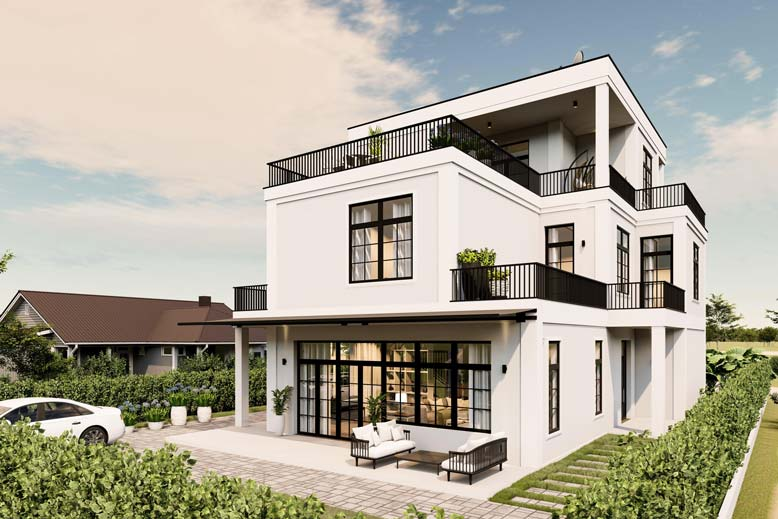 Thiết kế thi công biệt thự hiện đại 3 tầng đẹp – anh Thái tại Bình Dương, mã BT135