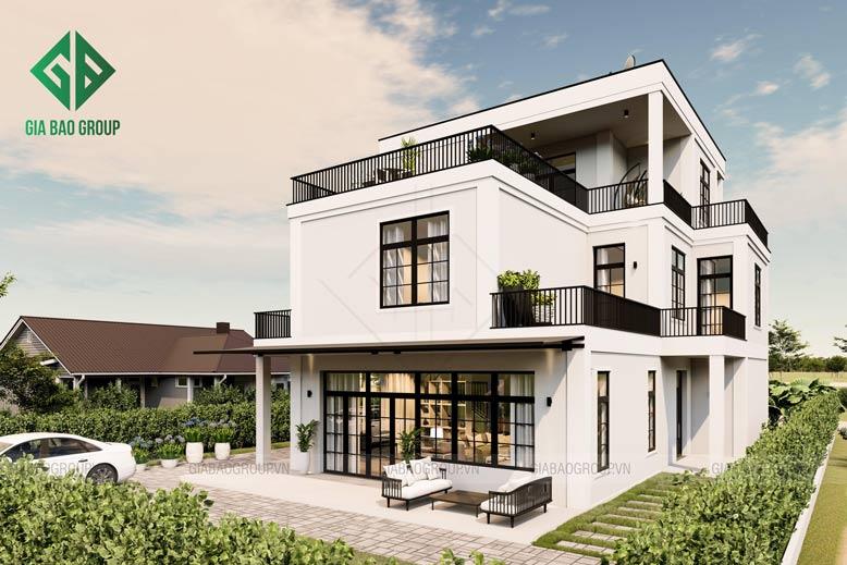 Mát mắt với công trình thi công thiết kế biệt thự hiện đại 3 tầng