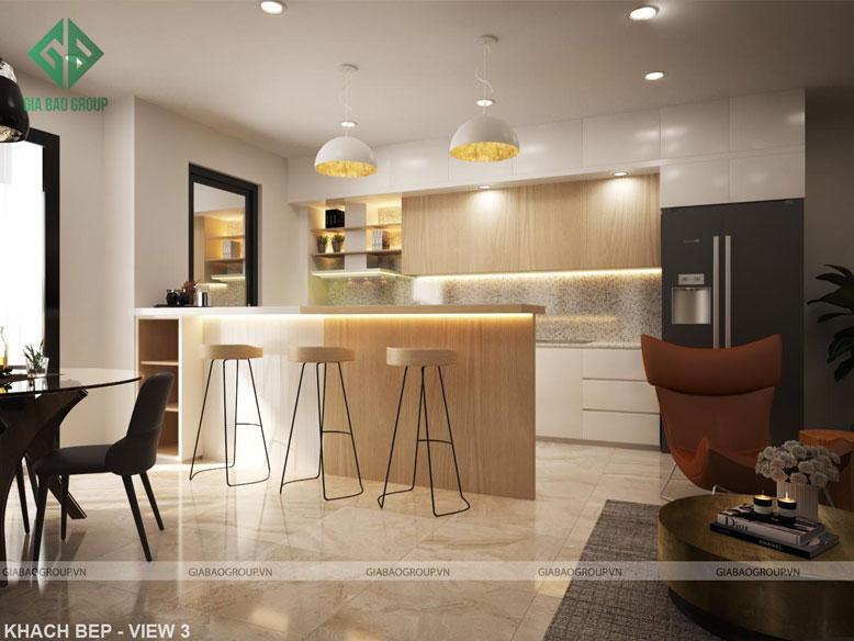 Thiết kế thi công căn hộ Q12 có không gian bếp ấm cúng, tiện nghi