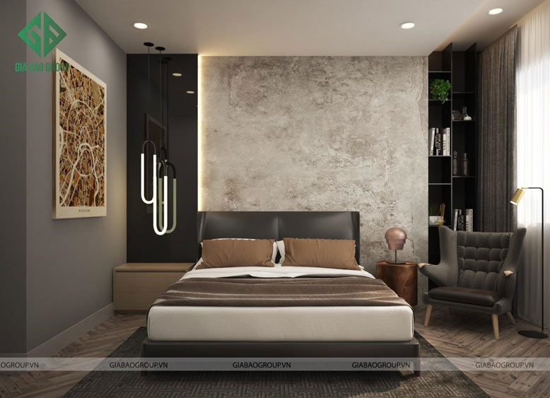Phòng ngủ với các gam màu hải hoà, dễ chịu, tận dụng ánh sáng tự nhiên trong thi công căn hộ Q12