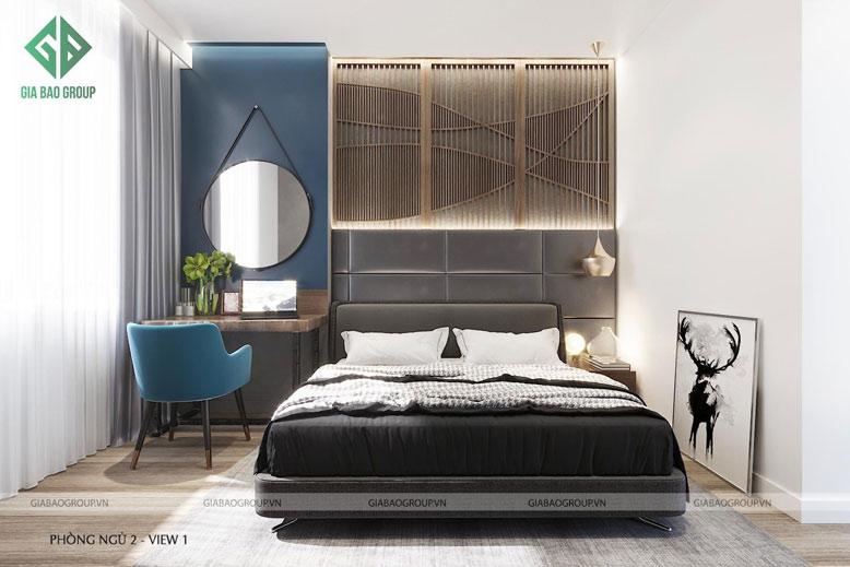 Phòng ngủ 2 được thiết kế trang nhã, sang trọng trong thiết kế thi công căn hộ Q12