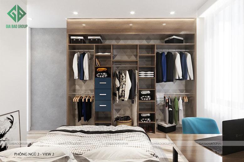 Nội thất phòng ngủ 2 trong thiết kế thi công căn hộ Q12 chú trọng sự đơn giản nhưng vẫn tinh tế, tiện nghi