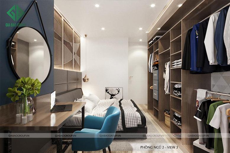 Tổng quan phòng ngủ 2 trong thiết kế thi công căn hộ Q12
