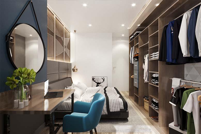 Thiết kế phối cảnh nội thất chung cư cho phòng ngủ phong cách hiện đại trẻ trung