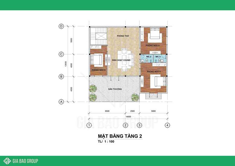 Mặt bằng tầng 2 của biệt thự 2 tầng