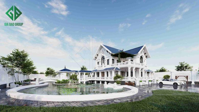 Các gam màu của căn biệt thự 2 tầng hợp với xu hướng hiện đại