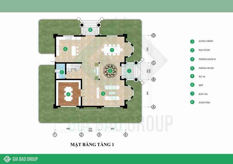 Biệt thự cổ điển 3 tầng với mặt bằng tầng 1 bố trí khá độc đáo