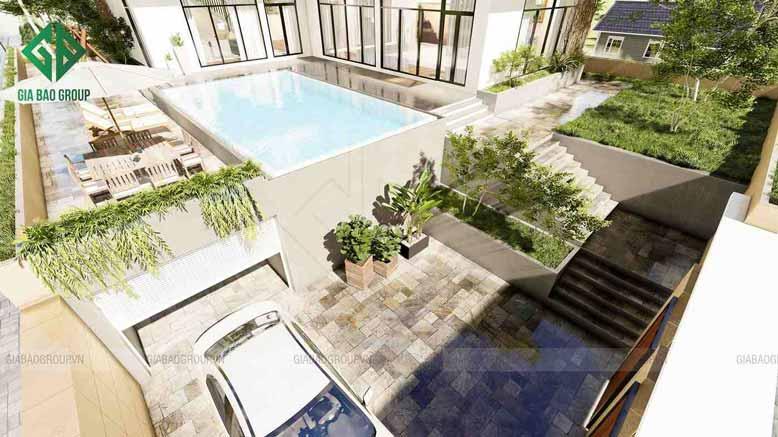 Kích thước hồ bơi hài hòa với tổng quan không gian của khu biệt thự hiện đại không gian mở đẹp