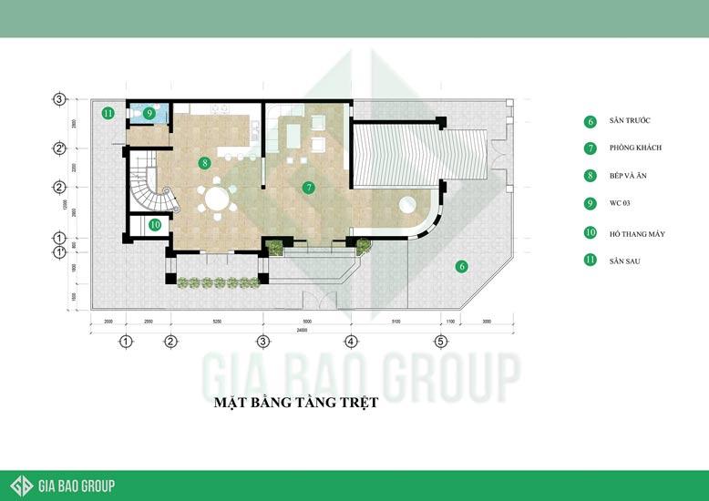 Sự liền mạch trong thiết kế của mẫu biệt thự tân cổ điển qua mặt bằng tầng trệt