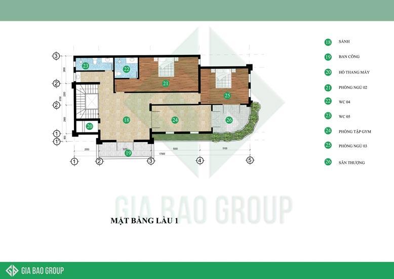 Bản vẽ thiết kế tầng 1 của mẫu biệt thự tân cổ điển