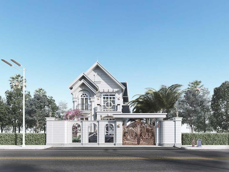 Mẫu biệt thự mini 2 tầng với thiết kế hài hòa, đảm bảo công năng và tính thẩm mỹ