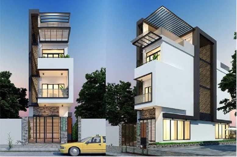 Mẫu thiết kế kiến trúc nhà phố lệch tầng đẹp