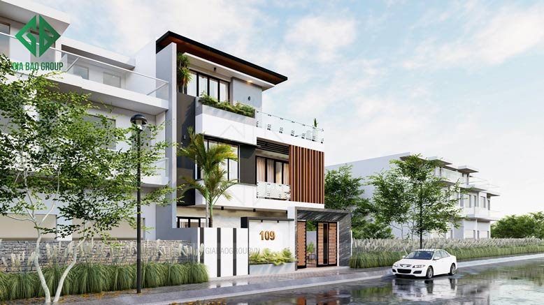 Thiết kế nhà phố 3 tầng ngang 10m đẹp - Anh Lắm, Củ Chi