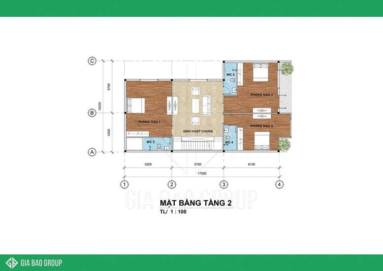 Tầng 2 mẫu nhà phố 3 tầng là không gian nghỉ ngơi và thư giãn