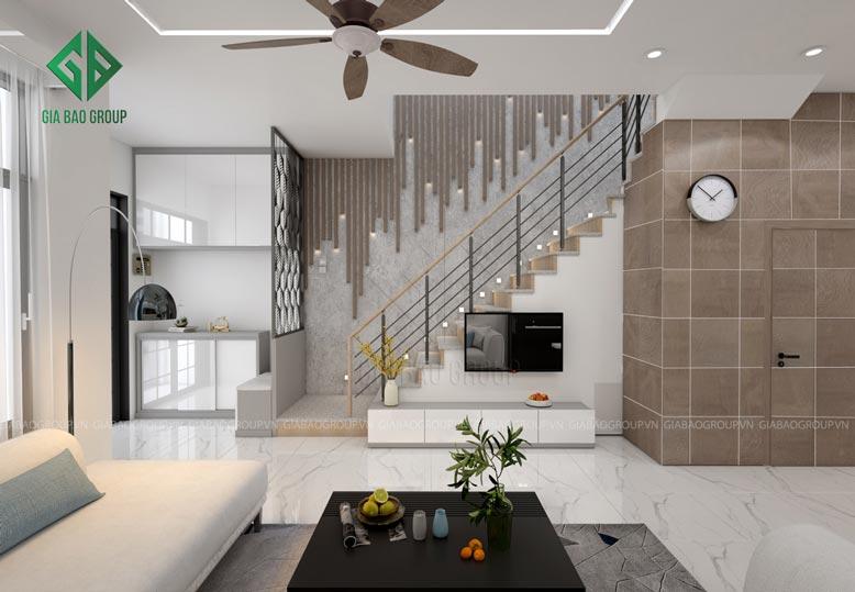 Tận dụng cầu thang để trang trí nội thất phòng khách đẹp