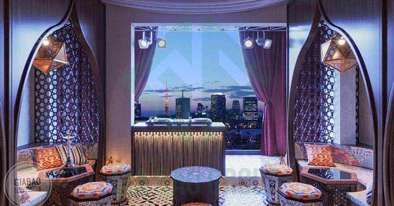 Quán cafe phong cách Ba Tư - một sản phẩm thi công xây dựng của Gia Bảo Group