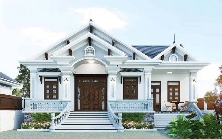 Thiết kế mái thái giật cấp với vẻ đẹp sang trọng