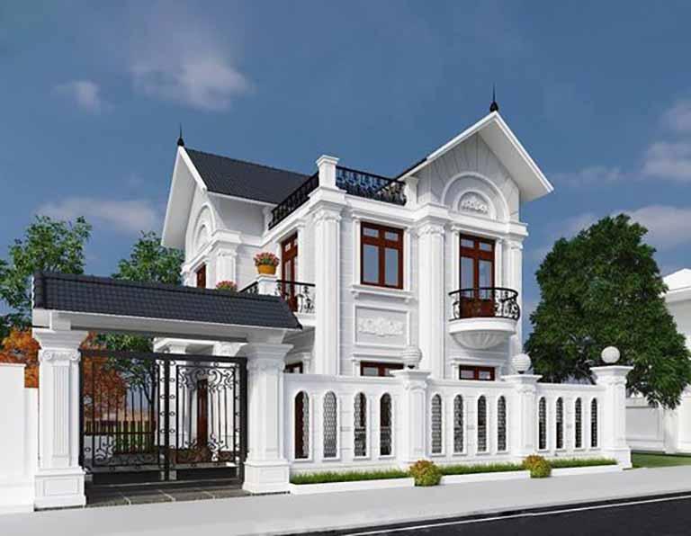 Biệt thự 2 tầng kiểu Châu Âu với sắc trắng nổi bật