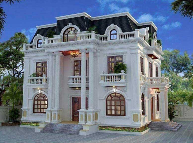 Thiết kế biệt thự tân cổ điển 2 tầng độc đáo và thu hút mọi ánh nhìn