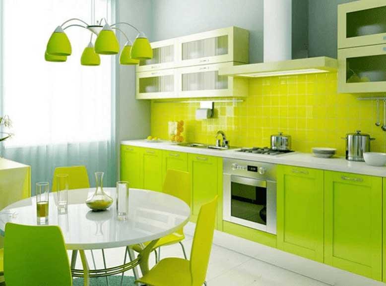 không gian phòng bếp với màu xanh lá tươi mát